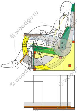 диванчик с откидывающимся столиком и подставкой для ног